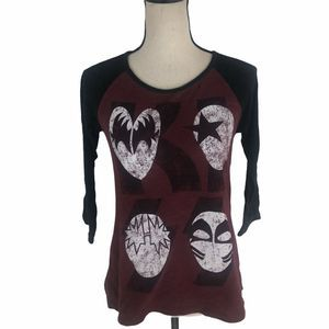 Kiss Band Graphic Tee 3/4 Sleeves M
